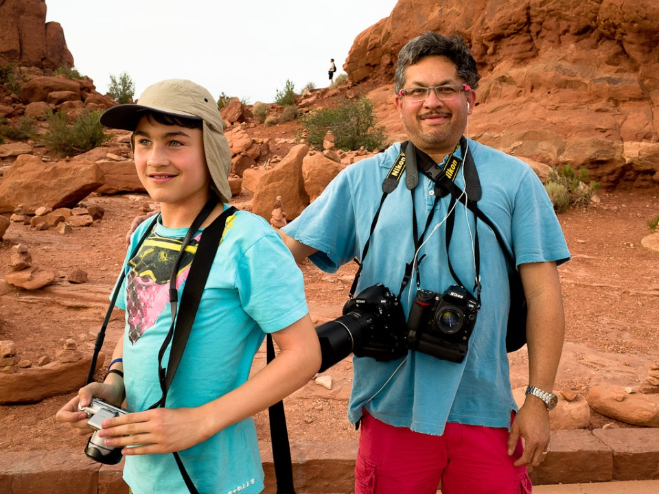 Jordy and Reynaldo at Balanced Rock in Arches Nat'l. Park - just in time for a great sunset.