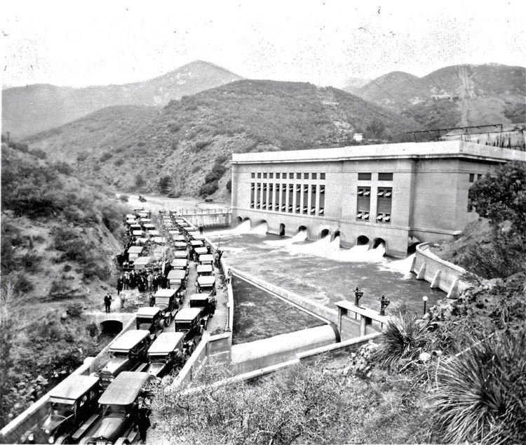 Opening day of the San Francisquito Power Plant No. 1 on March 18, 1917. Construction of the plant began six years earlier in 1911.