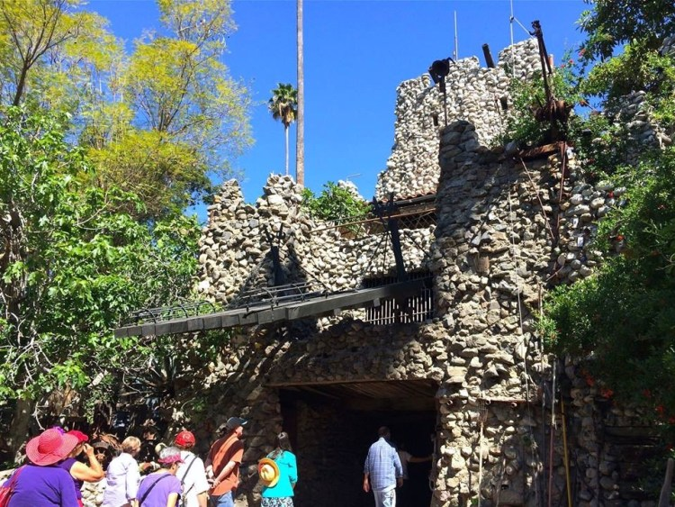 Rubel Castle was constructed partly out of concrete but also out of scrap steel, rocks, bedsprings, coat hangers, bottles, and other pieces of junk that Rubel found.