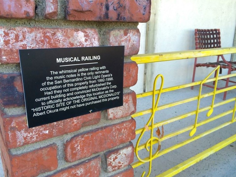 In the mid-1970s, a music store was built on the site and was later purchased by the San Bernardino Civic Light Opera. In 1997, the opera went bankrupt. Okura bought the property for $130,000 in 1998 after reading about the foreclosure in a local newspaper.