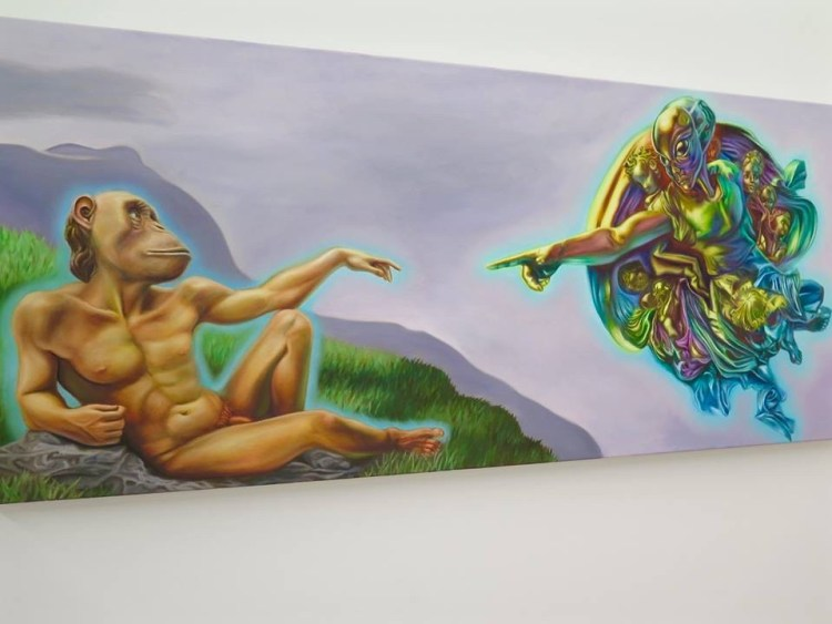 """THE CREATION OF APE"" Ron English Oil on Canvas, 58"" x 24"""