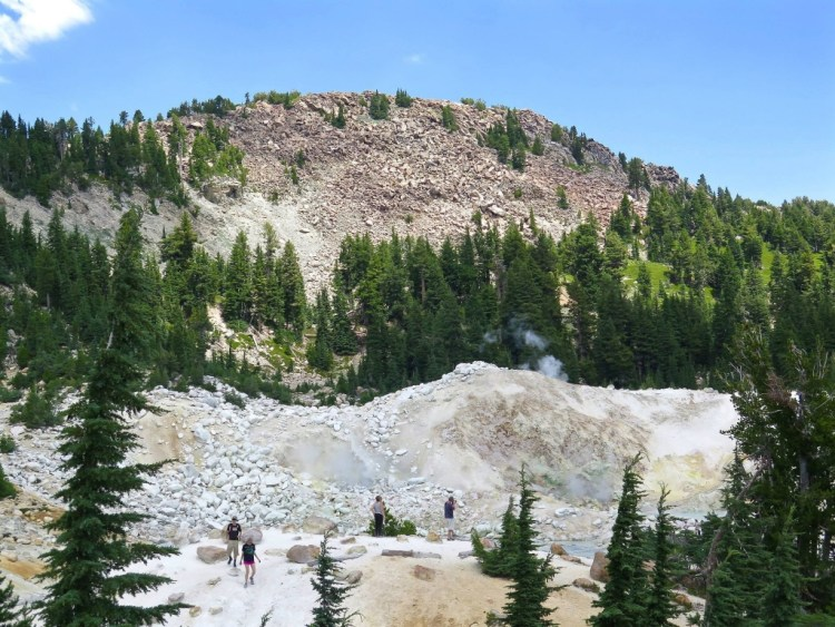 You get a good overall view of Bumpass Hell from several elevated vantage points...