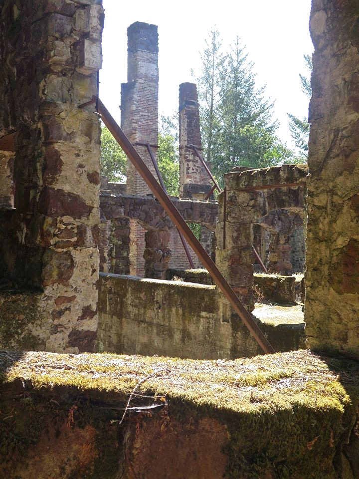 The two lower stories of rock remain mostly intact, covered in moss and sprouting ferns, while the five towering chimneys built to support five fireplaces are held up by massive steel support beams.