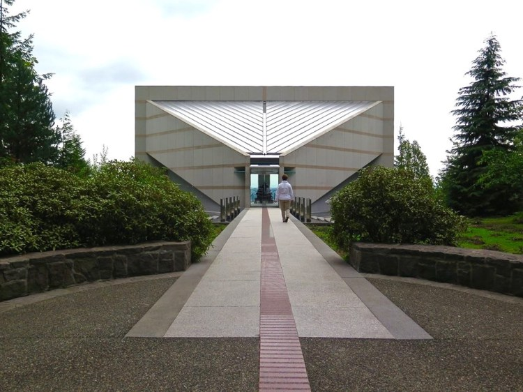 The Grotto Meditation Chapel, built in 1991, rises from the north face of Rocky Butte...