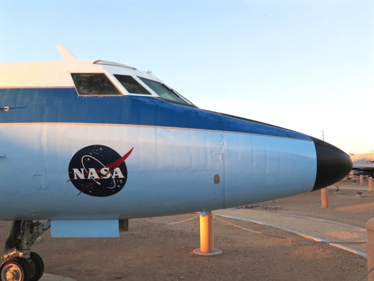 This Lockheed C-140 JetStar was flown at the nearby NASA Dryden Flight Research Centre from 1964 to 1989 on various flight research programs. It was fitted with special modifications over the years so that it could simulate the flight characteristics of many different types of aircraft.