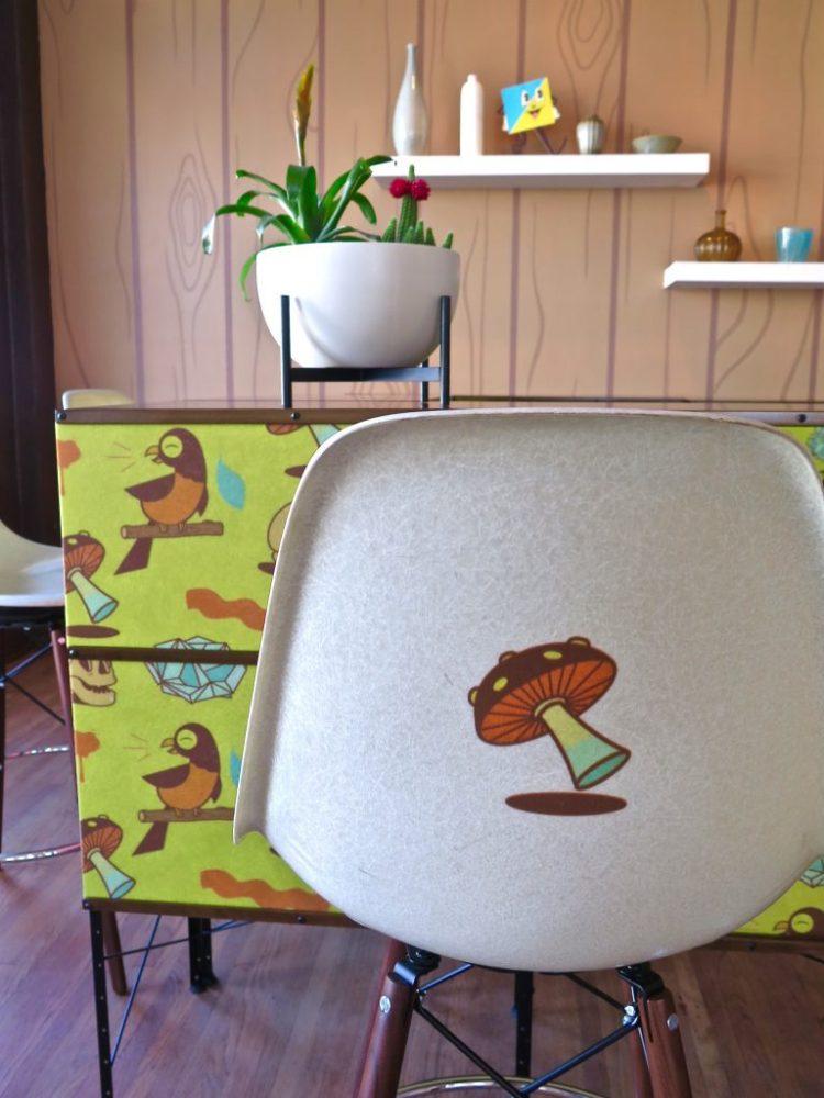 FIBERGLASS SIDE SHELL W/ DOWEL BARSTOOL- MUSHROOM $490
