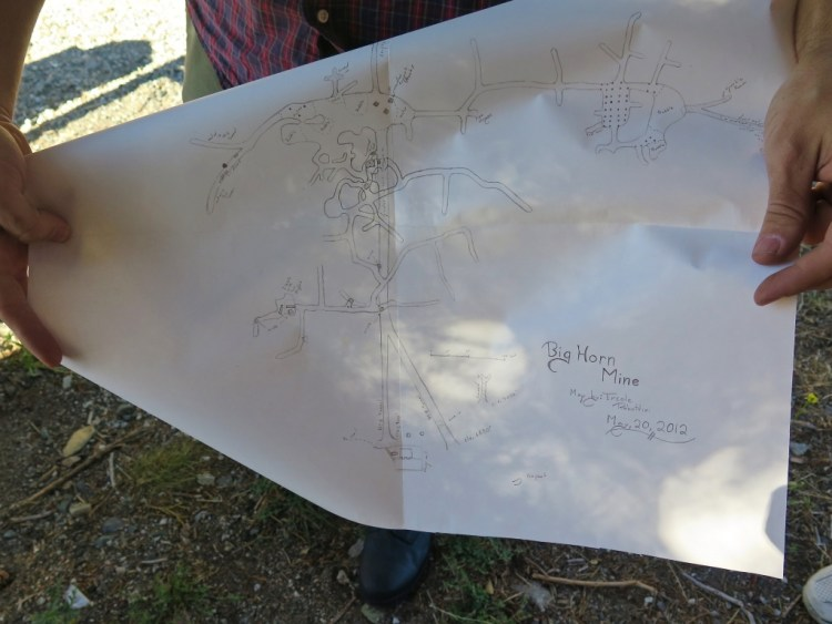 Our young guide has been exploring local mines for many years and is quite knowledgeable about Big Horn. He's done so much research and exploration, that he's been able to create this hand drawn map of its inner workings.
