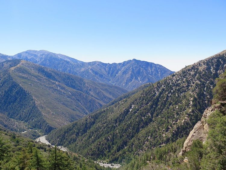 Epic views down the upper canyons of the East Fork of the San Gabriel River toward Mount Baldy and Iron Mountain.
