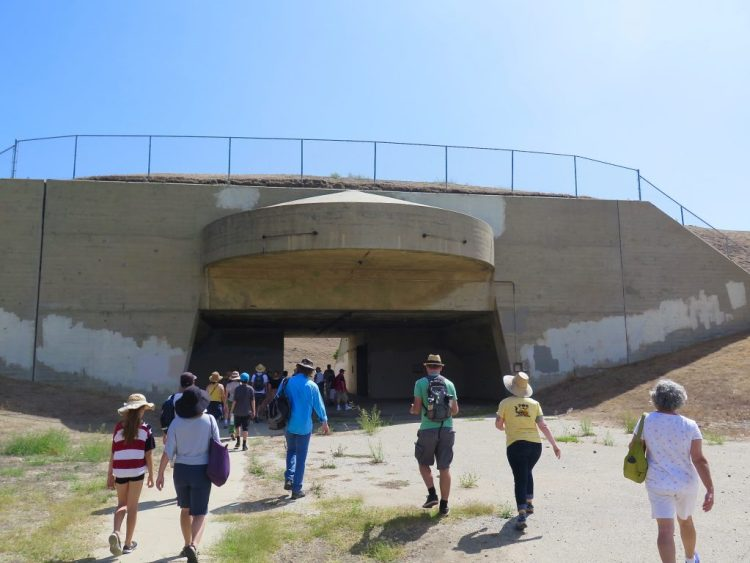 ...the two large concrete batteries that were dug into the hillside during WWII.