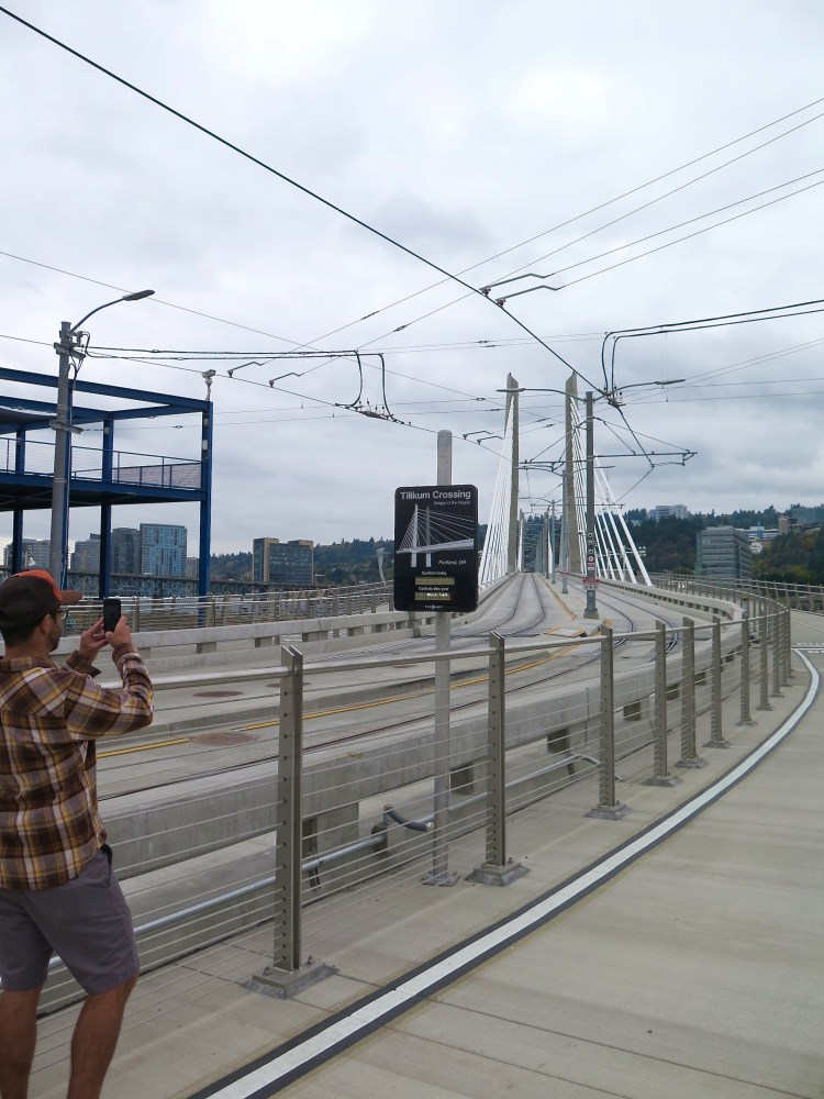 The crossing opened for general use on September 12, 2015, becoming the first new bridge built across the river in the Portland metropolitan area since 1973. An aesthetic lighting system will use 178 LEDs to illuminate the cables, towers, and underside of the deck. The color and motion of the lighting changes along with the speed, height and water temperature of the Willamette.