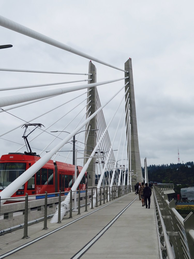 Tilikum Crossing, Bridge of the People is a cable-stayed bridge across the Willamette River.