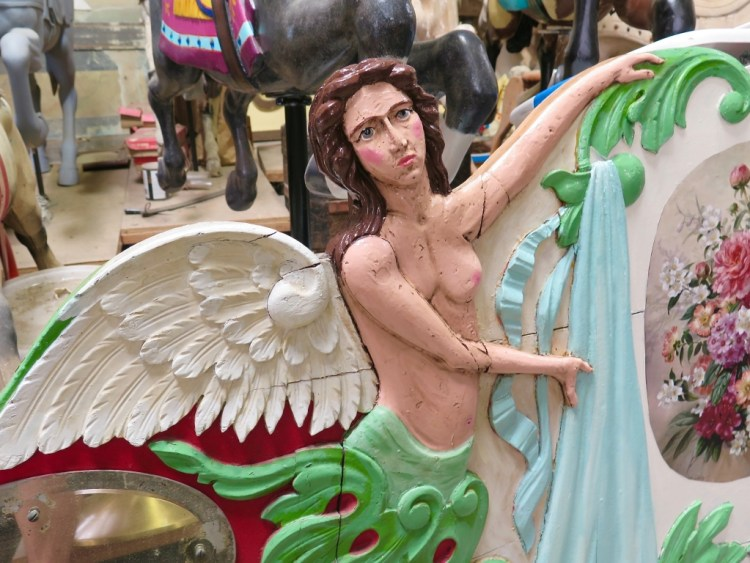 Owner Lourinda Bray is a collector and restorer of these rare carousel figures.