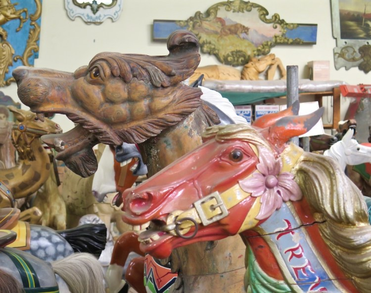 The American craftsmen, not satisfied with only making horses, began to included other creatures on the rides, ranging from zoo animals to mythical beasts.