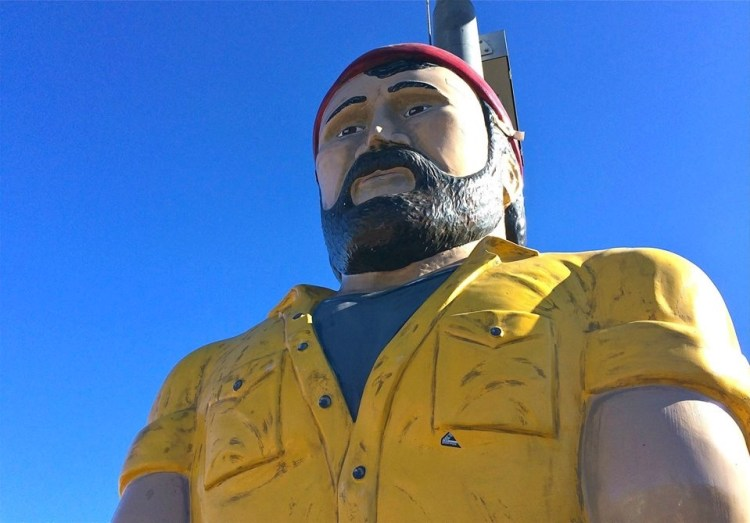 Meet Flagstaff's 10-foot cedar statue of Louie the Lumberjack, the brother of the two 20-foot-plus giants that stand on campus as mascots of Northern Arizona University. Little Louie sits in the parking lot outside Granny's Closet, a famous restaurant on South Milton Street in Flagstaff, AZ.