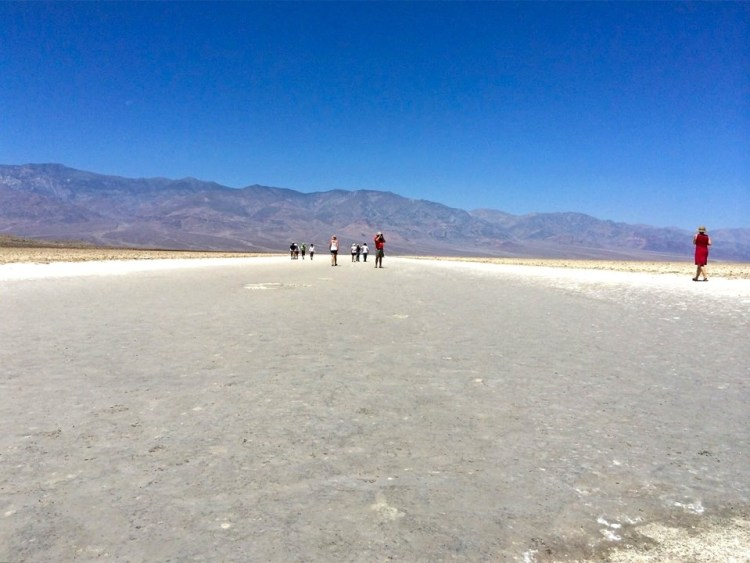 The source of Badwater's salts is Death Valley's drainage system of 9,000 square miles—an area larger than New Hampshire. Rain falling on distant peaks creates floods that rush ever lower. Along the way, minerals dissolve from rocks and join the flood. Here, at the lowest elevation, floods come to rest, forming temporary lakes. As the water evaporates, minerals concentrate until only the salts remain. After thousands of years, enough salts have washed in to produce layer upon layer of salt crust.