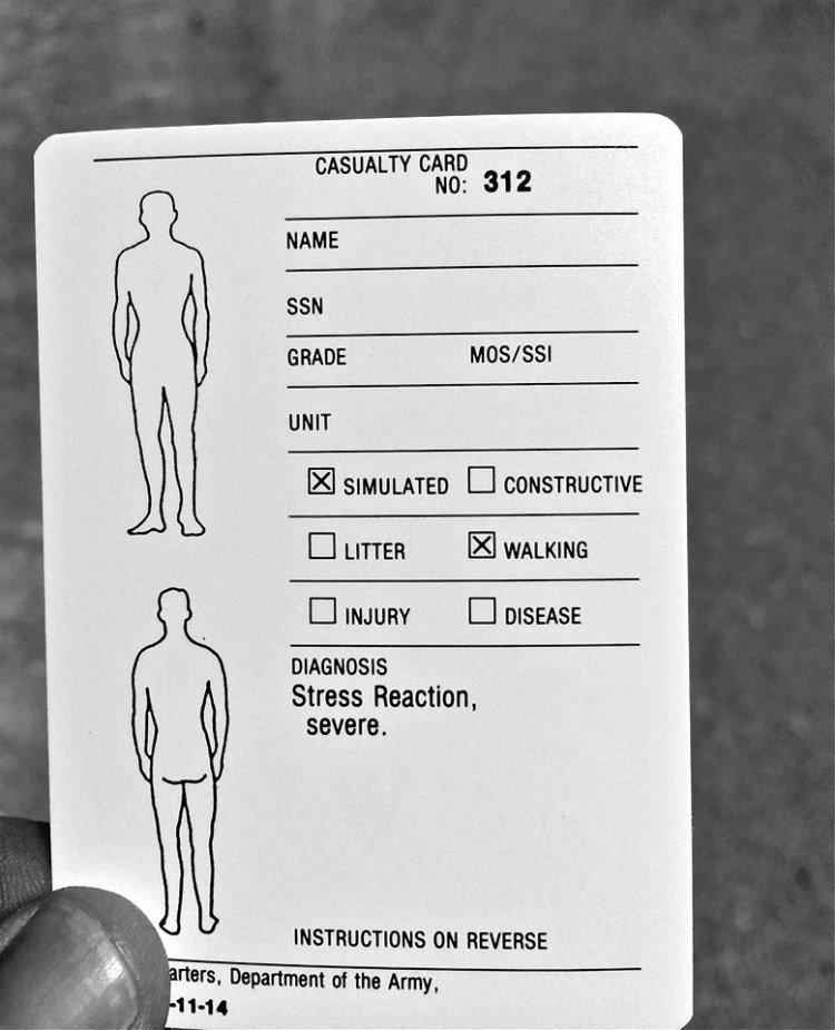 Injury cards handed out to fallen soldiers and civilians. These detail the specific rules given for role-playing a suite of symptoms and behavior—a kind of design fiction of military injury.