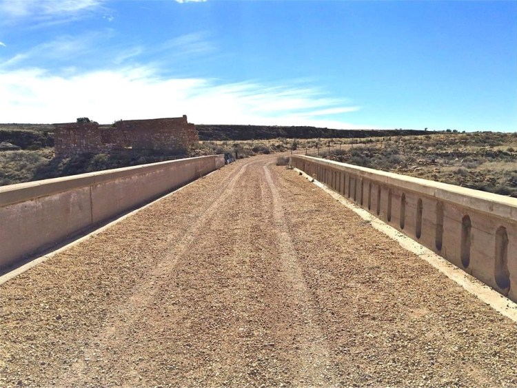 The Canyon Diablo Bridge and the adjacent roadway carried mainline traffic (including Route 66) until the highway was rerouted in the 1930s. There were no warning signs anywhere along the bridge, so I walked across it first and then later drove across it after seeing other people do it safely.
