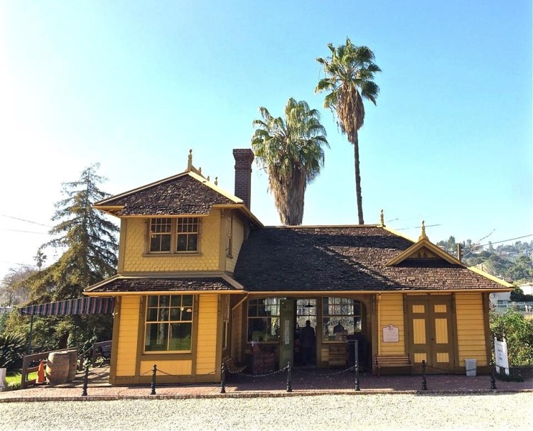 "The Palms-Southern Pacific Railroad Depot - Known informally as ""The Grasshopper Stop"" when it was built by the Southern-Pacific in 1886, the Eastlake-style depot was soon renamed ""the Palms"" and served as a stop between the city of Los Angeles and Santa Monica."