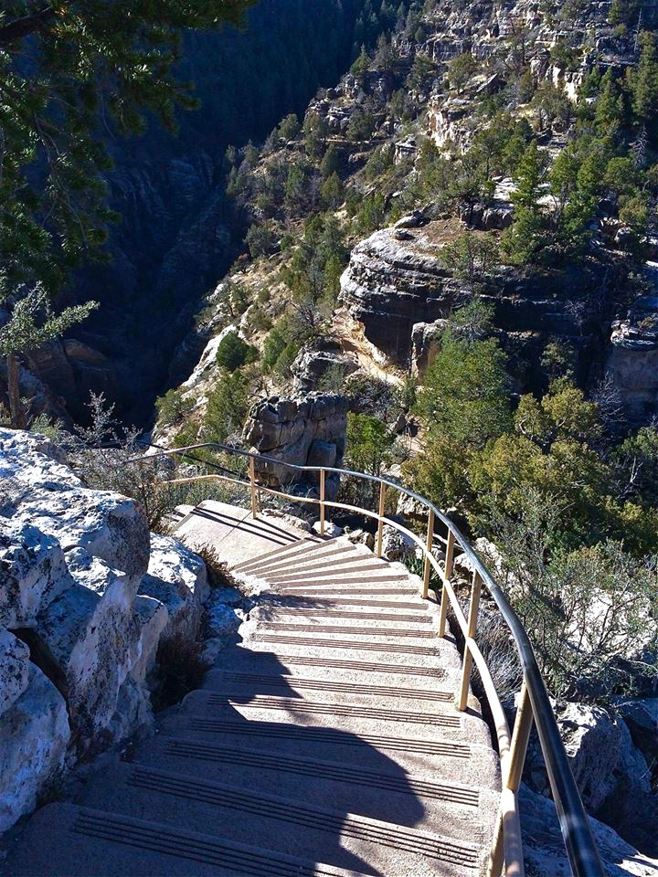 The 204 steps down to the cliff dwellings in Walnut Canyon keep the oldies away.