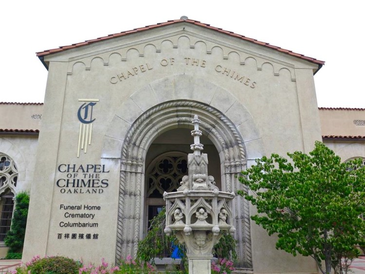 The land where Oakland's lovely Chapel of the Chimes now stands was originally the site of a trolley car station delivering people to the gates of Mountain View Cemetery. The California Crematorium Association purchased the old station in 1902 and turned it into a chapel for funeral services. The original chapel of the columbarium still has train schedules on the wall.