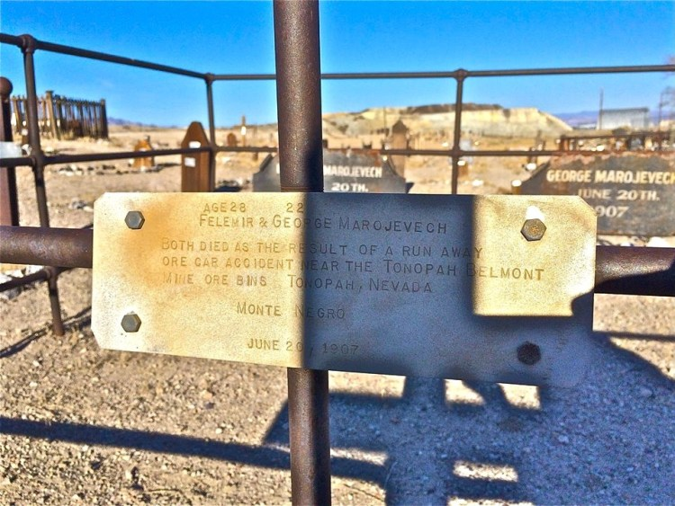 Other eternal residents include some fourteen miners who fell victim to the Tonopah-Belmont Mine fire of February 23, 1911, among them Big Bill Murphy who died saving miners at age 28.