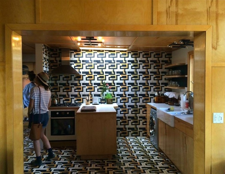 She lives completely surrounded by her art and has designed everything herself – right down to the tiles in the kitchen.