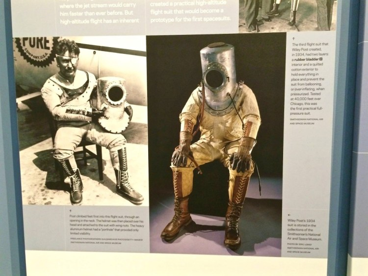 """Currently showing in one of the special exhibit galleries was """"Suited for Space"""", which takes you on a journey through nearly a century of spacesuit design and development, from the earliest high-altitude pressure suits to the iconic white suits of Apollo and Skylab."""
