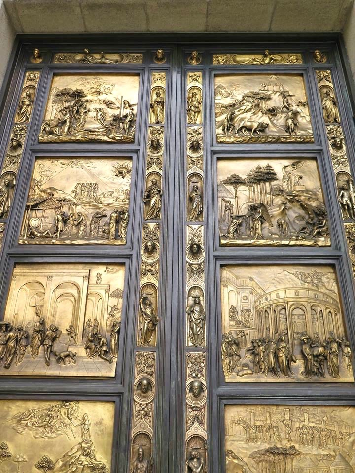 The cathedral doors are bronze and gold plate replicas of the ones made for the Baptistry in Florence, Italy.
