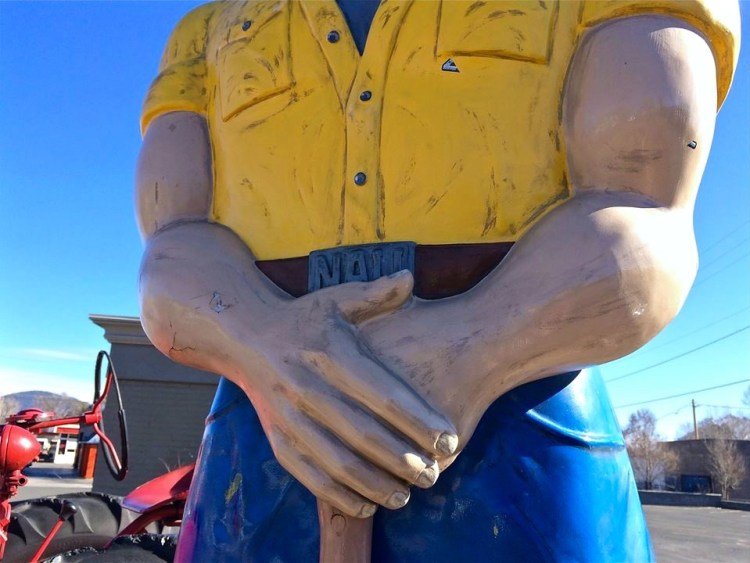 The nearly 1,000-pound statue was restored back in 2009. After carving all the rot out, Bondo was used to contour Louie's chest, biceps, legs, thighs and buttocks. He now wears size-22 shoes, has a bigger ax and is coated with fiberglass in order to protect him from the elements.