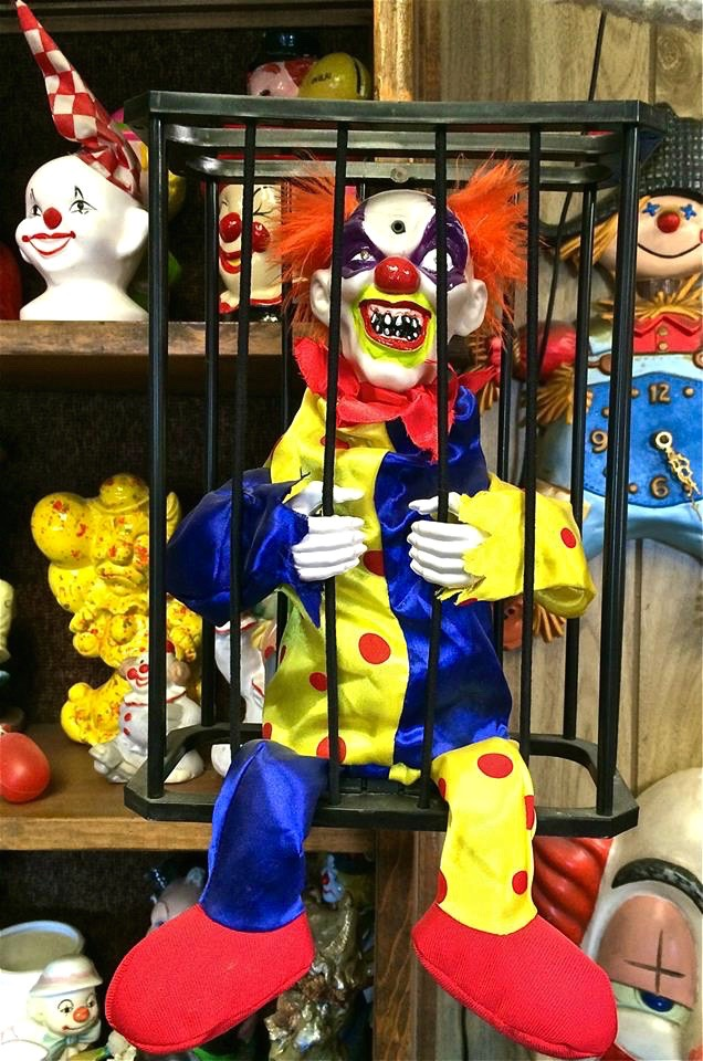 Caged clowns are never creepy.