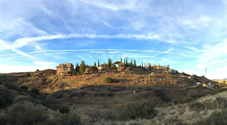 70 miles north of Phoenix, in central Arizona lies an experimental town created by Paolo Soleri, intended to house 5,000 people.