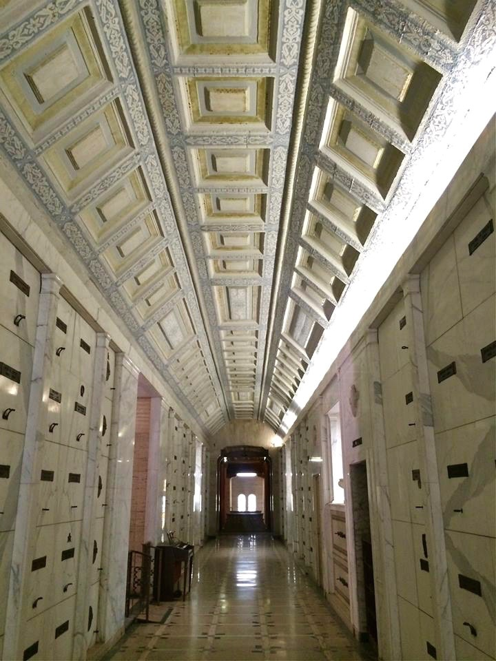The mausoleum is a labyrinth of crypts with multiple levels of hallways containing the interred remains of various prominent figures in Pasadena history.