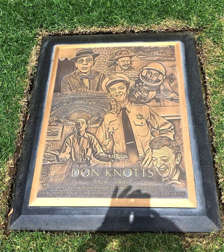 Don Knotts (1924-2006) aka 'Mr. Furley'. In 2010, his original small marker was replaced with a large, distinctive bronze plaque bearing the likenesses of Don's characters: Barney Fife, Mr. Limpet, the Reluctant Astronaut, etc.