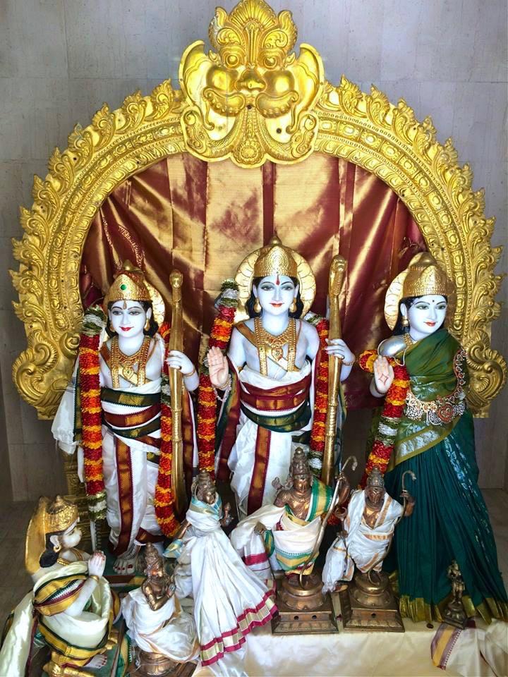 The deities at the Malibu Hindu Temple include Venkateswara, Rama, Lakshman, Sita, Hanuman, Ganesh, Padmavathi, Bhoodevi, Shiva, Krishna & Radha.
