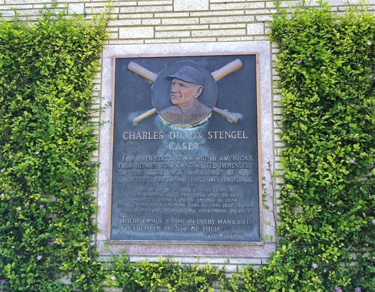 Casey Stengel (1890-1975) was best known as a manager, he led the New York Yankees to 10 pennants in 12 seasons, and to 7 World Series championships (including 5 in a row). He later managed the New York Mets from 1962 to 1965. He was inducted into the Baseball Hall of Fame in 1966.