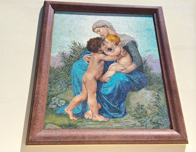 One of the many mosaic paintings that can be found throughout the grounds.