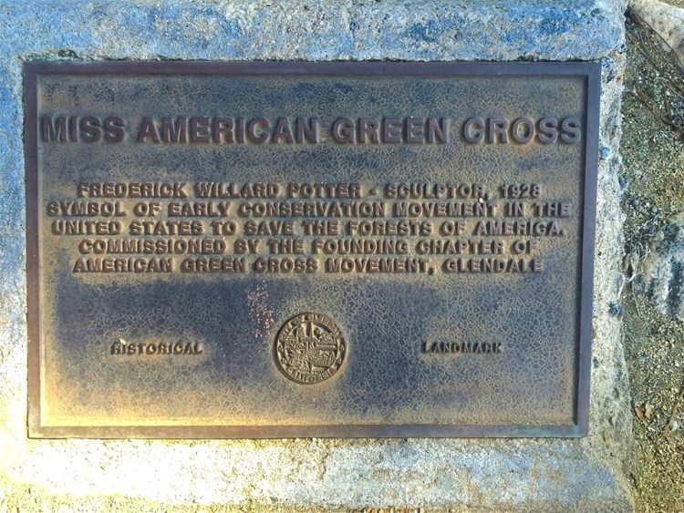 The statue of Miss American Green Cross was created in 1928 as a symbol of the deforestation that was taking place across the country at that time.