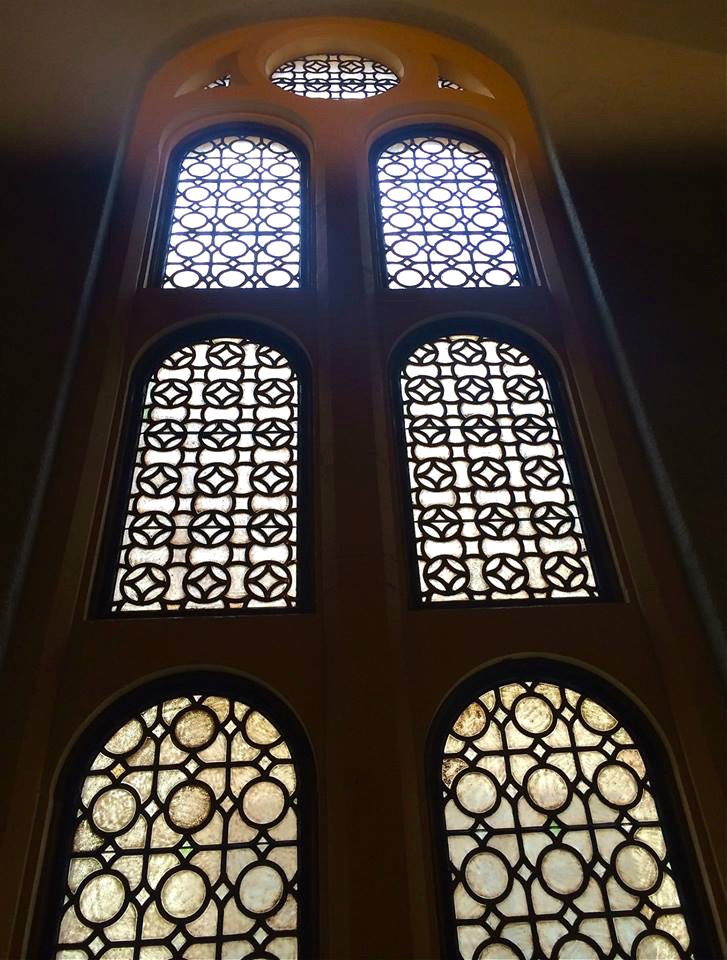 Window wall inside the Piness Auditorium.