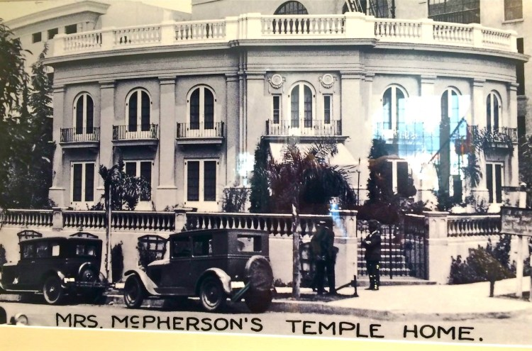 Nestled up to the great Angelus Temple is the parsonage home of the Foursquare Gospel movement's founder, Aimee Semple McPherson which is now open to the public Monday through Thursday from 1-3 p.m. and Fridays from 10 a.m. - 1 p.m., except holidays.