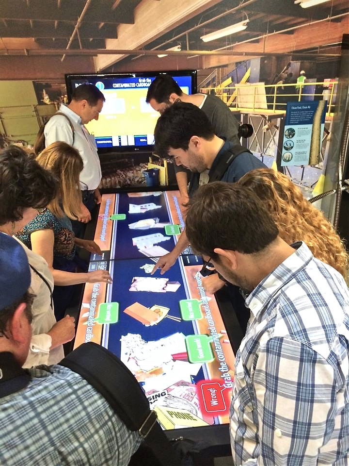 The ELC, which was just completed last year, is all about interactivity. This interactive game determines which team is better at sorting out the recyclables into the proper colored bins.