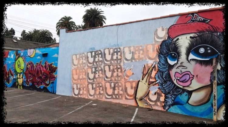 Chola Girl Throws Gang Signs @ Froggy artist: Sand One Alteno Sports Bar 8554 Washington Boulevard