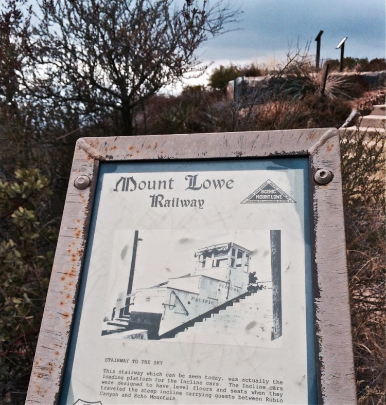 From its point and down an incline to its foot in Rubio Canyon was the Great Incline funicular of the Mount Lowe Railway, whose white cars could be seen ascending and descending Echo.