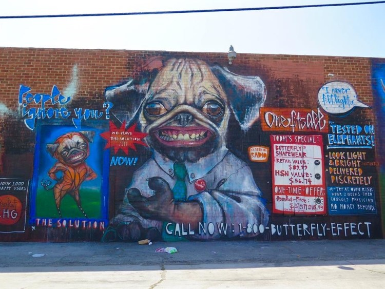 painted on the exterior wall of Corey Helford Gallery' as part of the exhibition.