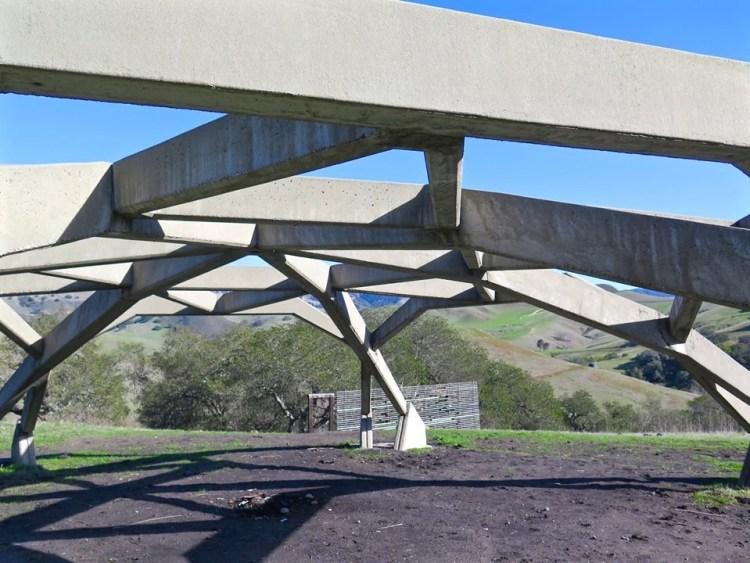 Pavilion's angular series of concrete beams were inspired by the work of Italian architect Pier Luigi Nervi.