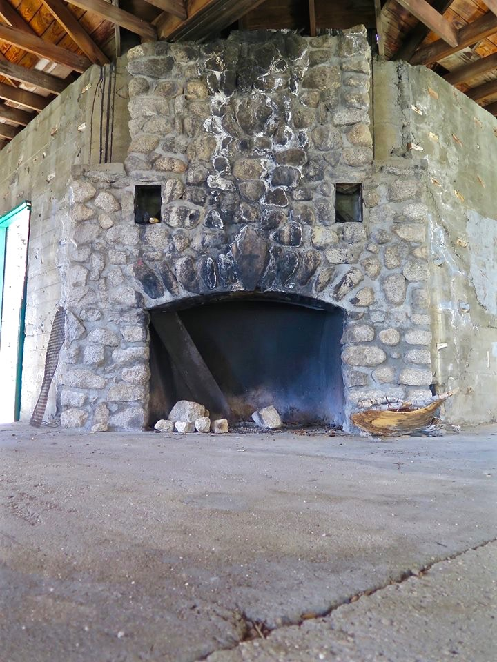 ...a stone fireplace...