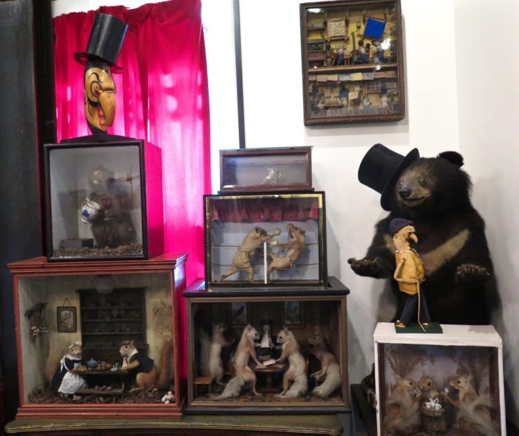 Walter Potter (2 July 1835 – 21 May 1918) was an English taxidermist noted for his anthropomorphic dioramas featuring mounted animals mimicking human life, which he displayed at his museum in Bramber, Sussex, England.