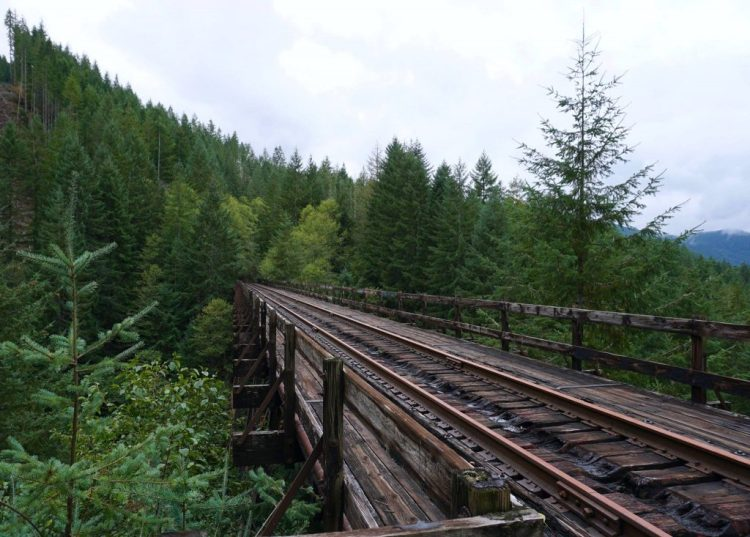 The steel-girdered Big Baldwin Trestle is 165' high and 520' in length, the largest trestle on the line.