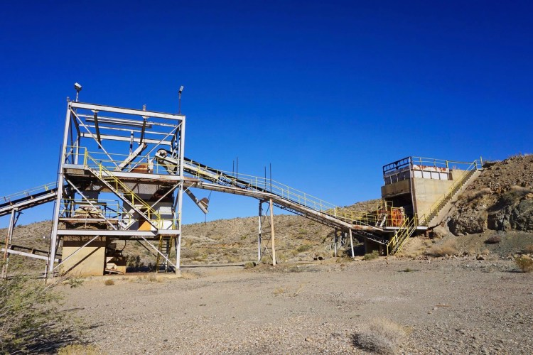 Outside ore crushing/conveying circuit and screening plant which fed the mill.