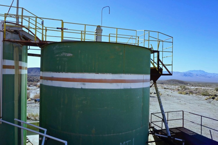 These large green tanks mixed the ore slurry with potassium cyanide: