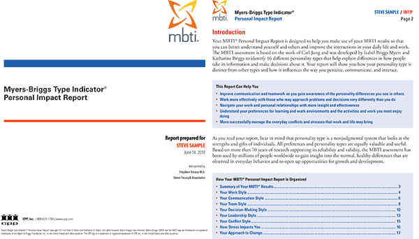 Myers Briggs Personal Impact report